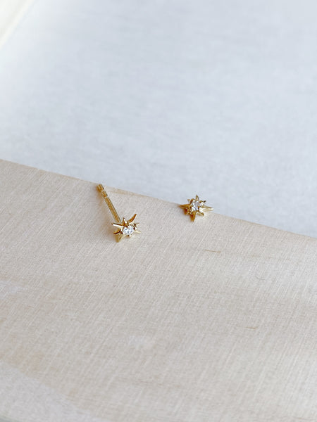 14k Mini Diamond Star Studs