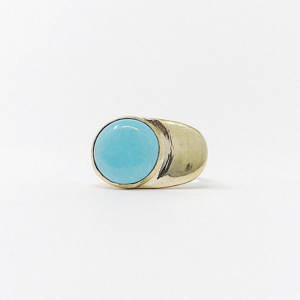Turquoise Esposa Ring Brass