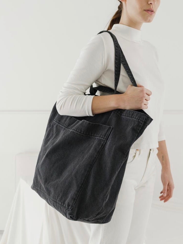 Giant Pocket Tote - Washed Black