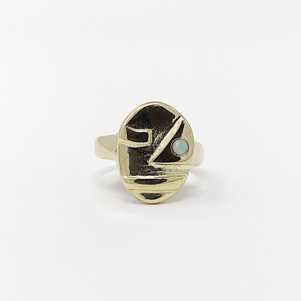 Opal Sophie Face Ring Brass