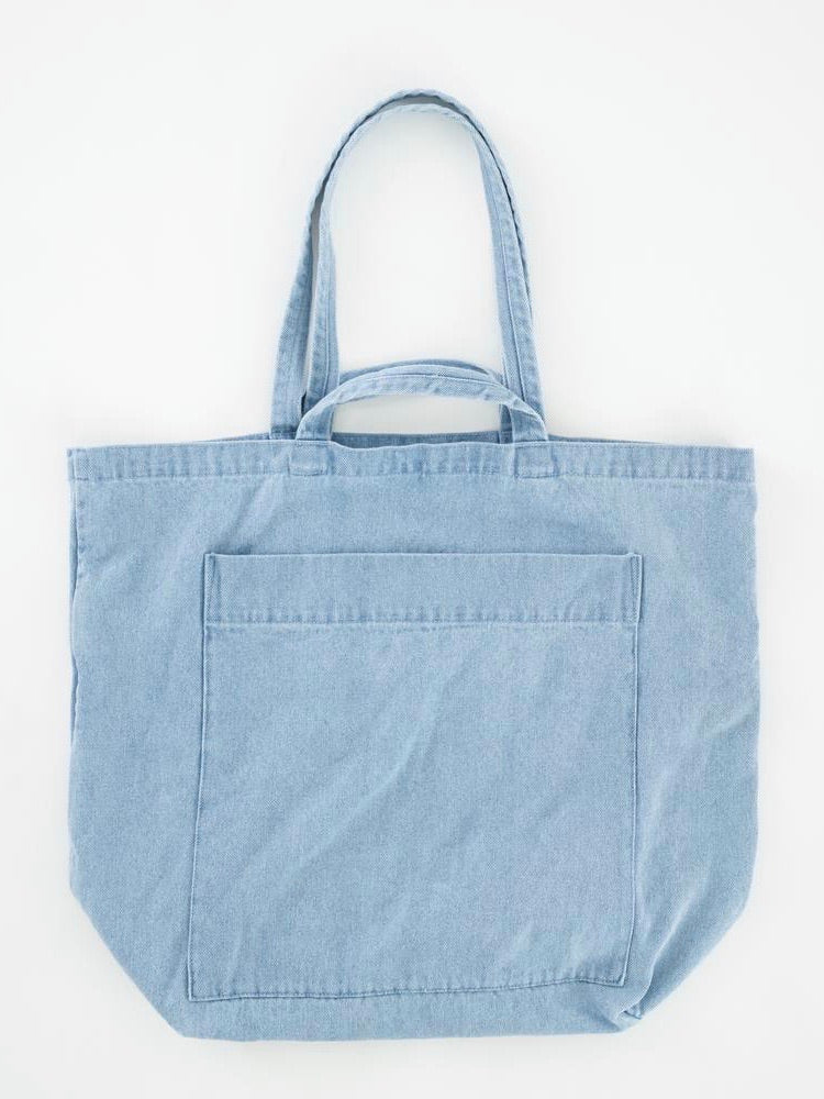 Giant Pocket Tote - Light Denim