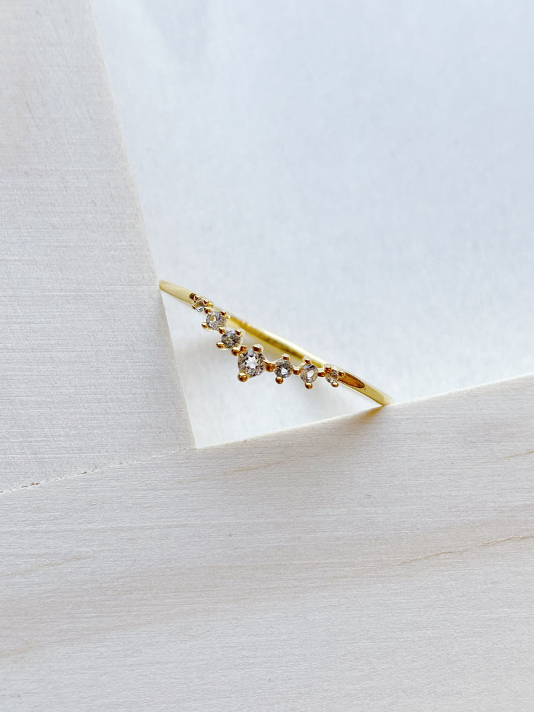 White Topaz Fairy Dust Arc Ring