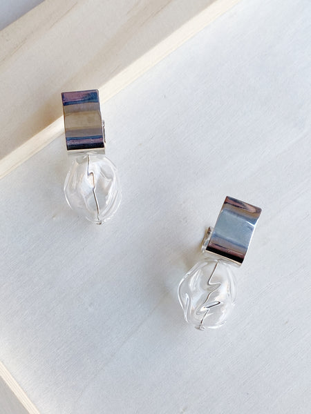 Sterling Silver Ash Clear Earrings