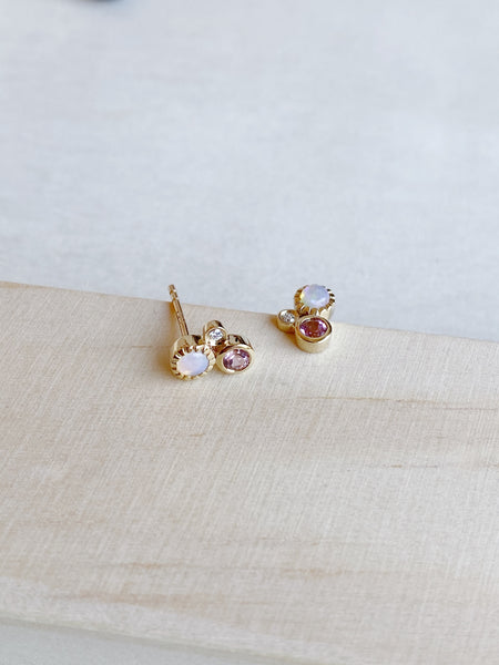 14k Opal, Diamond, and Pink Tourmaline Cluster Studs