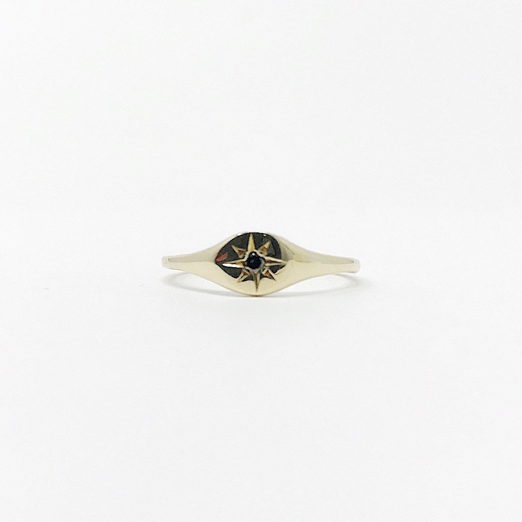 Black Diamond Circle Signet