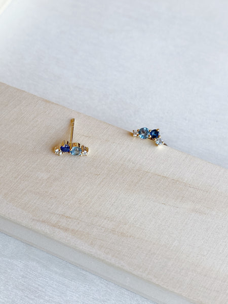 14k Hues of Blue Cluster Studs