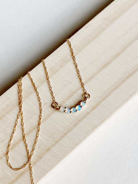 young blood boutique la kaiser 14k gold opal rainbow necklace