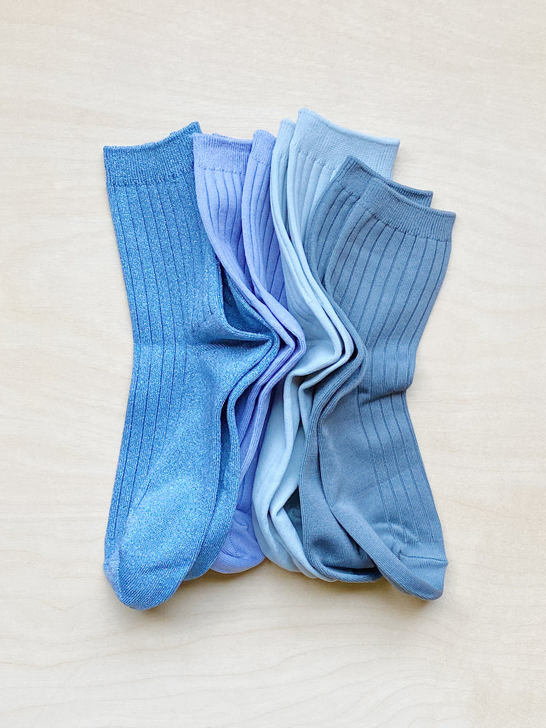 young blood boutique le bon shoppe socks blue pile