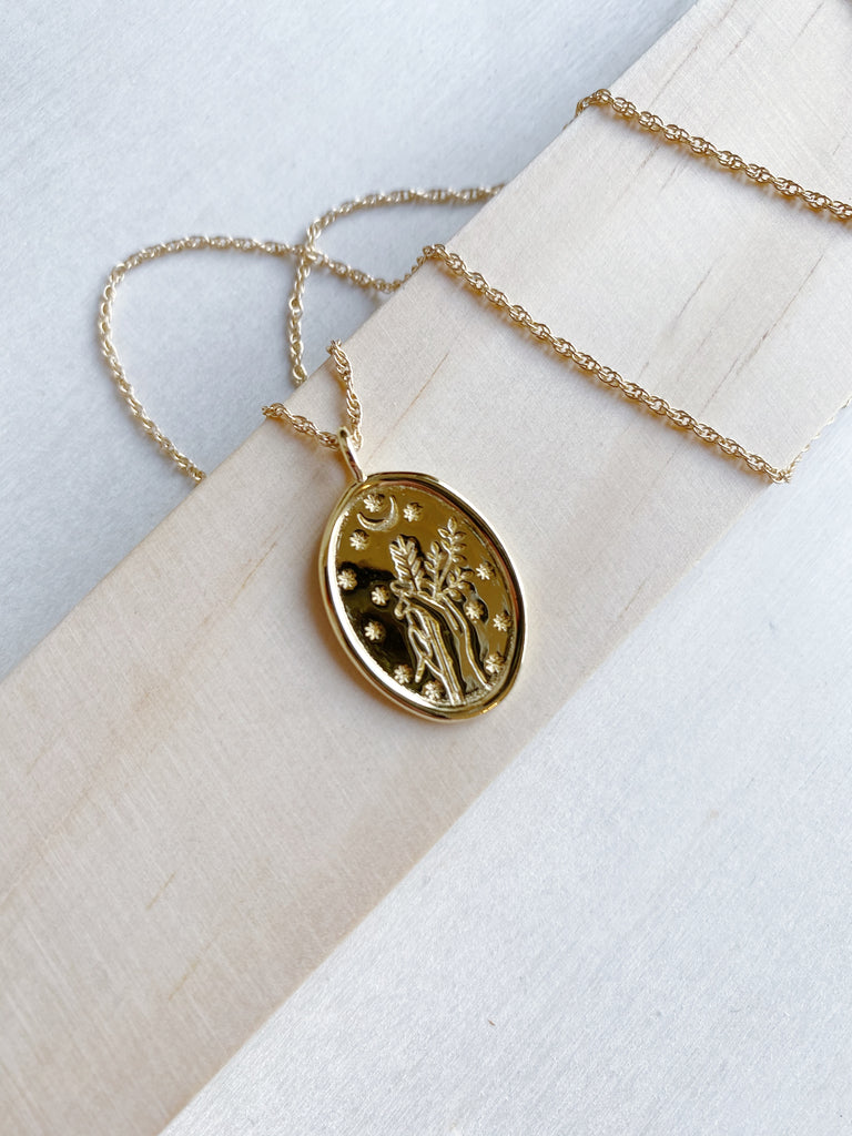 young blood boutique merewif jewelry diana necklace gold plated goddess