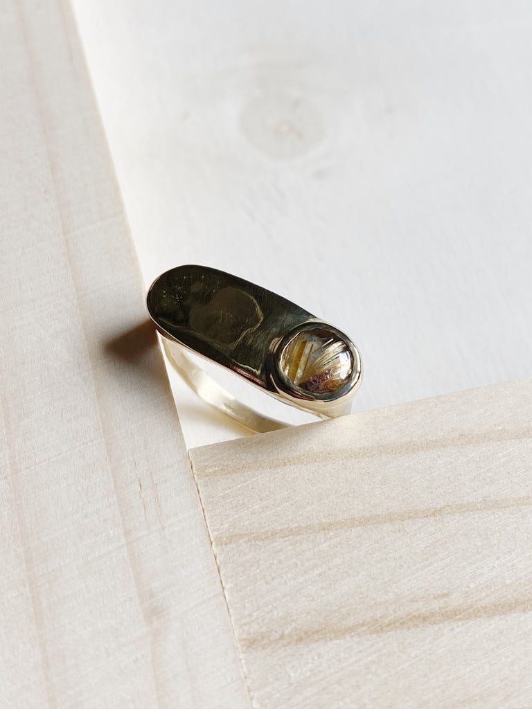 young blood boutique seaworthy jewelry brass esposita ring rutilated quartz