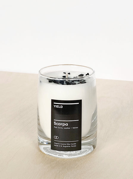 young blood boutique yield design candle Scarpa Palo Santo leather vetiver
