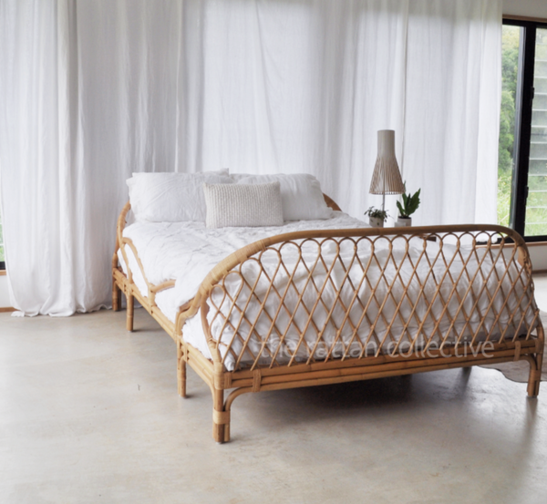 queen rattan bed Farm byron bay