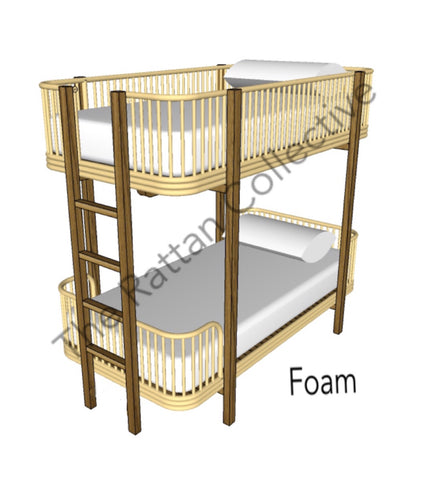 rattan bunk loft bed kids room kids bedroom cane bed the rattan collective space saving bed designer