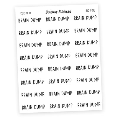 BRAIN DUMP • SCRIPTS - Station Stickers