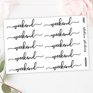 Foiled Weekend Banner // Clear - Station Stickers | Planner Stickers