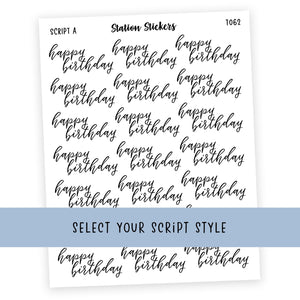 HAPPY BIRTHDAY • SCRIPTS - Station Stickers