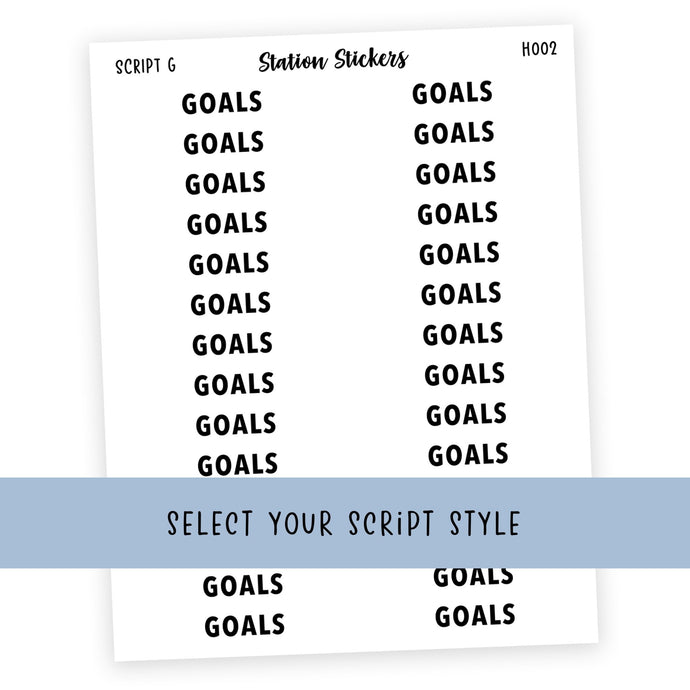 HEADER • GOALS - Station Stickers