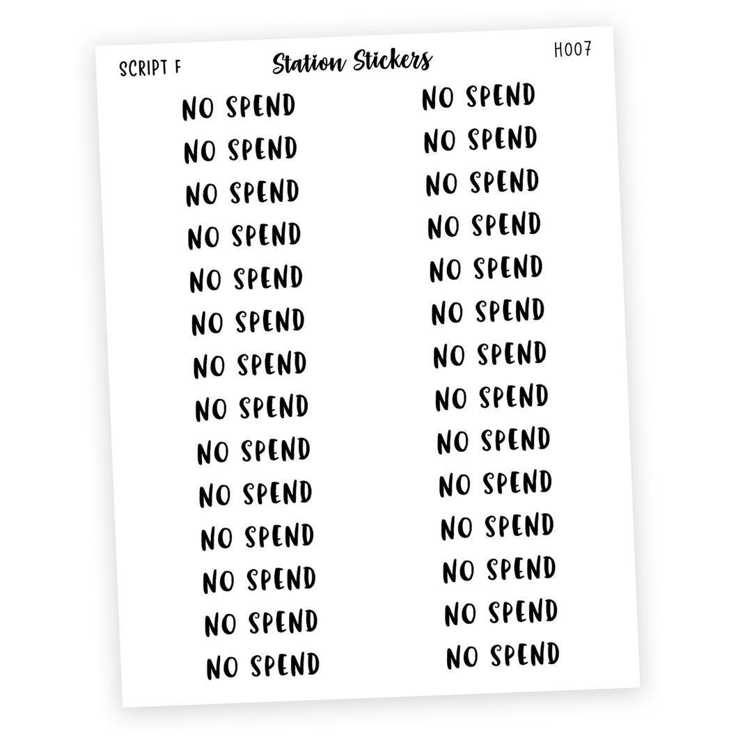 HEADER • NO SPEND - Station Stickers