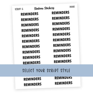 HEADER • REMINDERS - Station Stickers