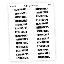 Load image into Gallery viewer, HEADER • REMINDERS - Station Stickers