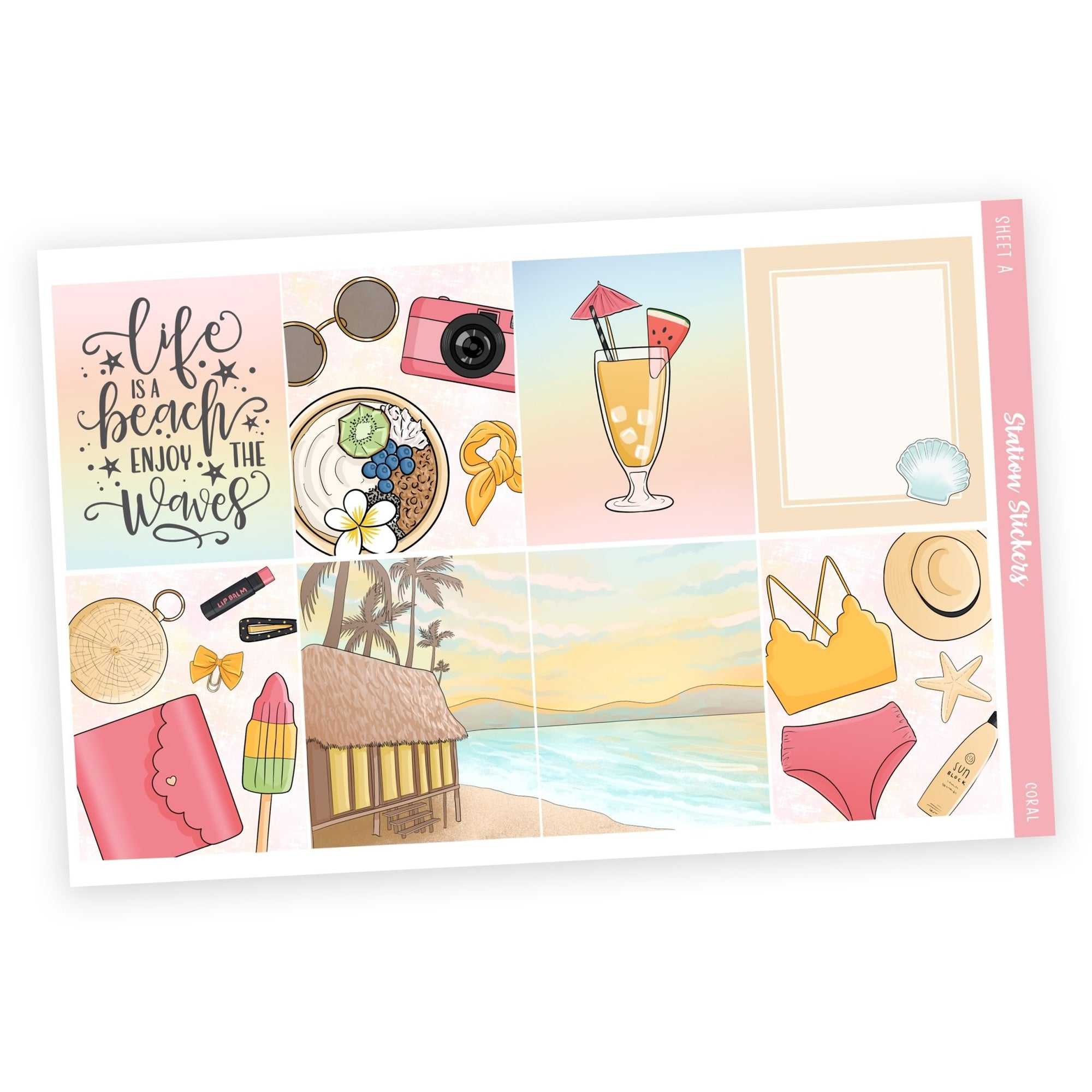 WEEKLY STICKER KIT • CORAL - Station Stickers