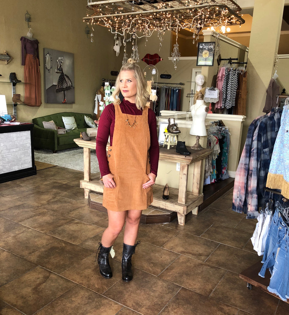 CARAMEL LATTE CORDUROY OVERALL DRESS