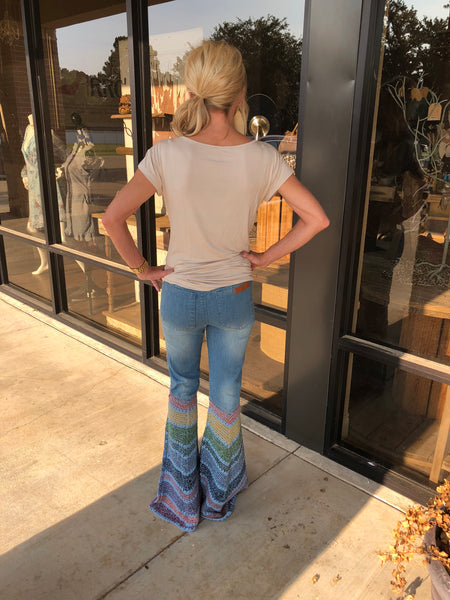 CROCHET BOTTOM DENIM FLARES