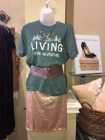 LIVING IS THE ADVENTURE TEE