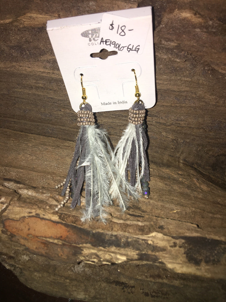 FEATHER AND SUEDE EARRINGS