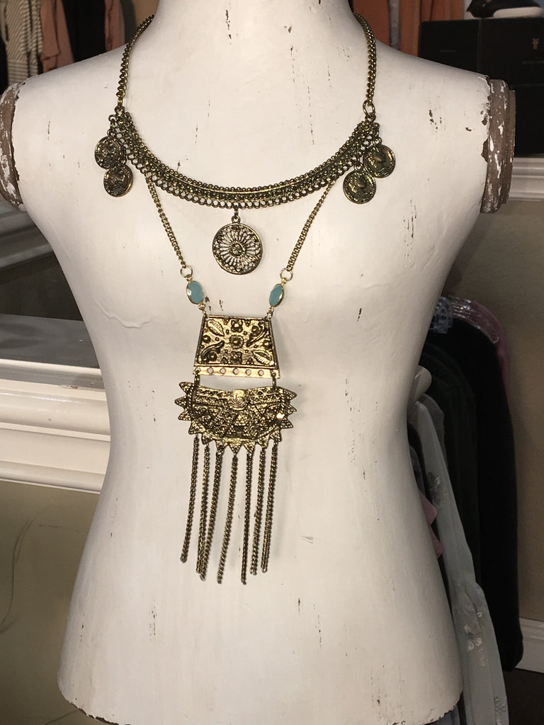 CHUNKY GOLD TRIBAL NECKLACE
