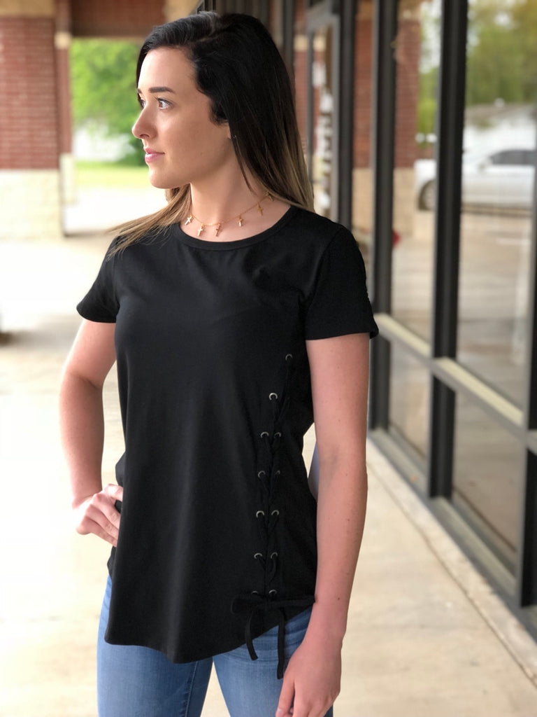 CELLI LACE UP TEE