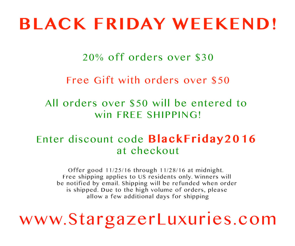 Black Friday Weekend Specials!