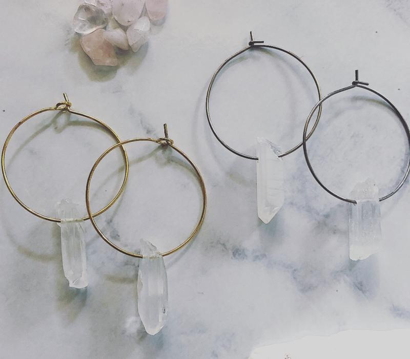 Raw Quartz Hoops