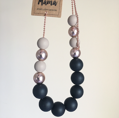 Silicone Necklace - Amaris Stone Black
