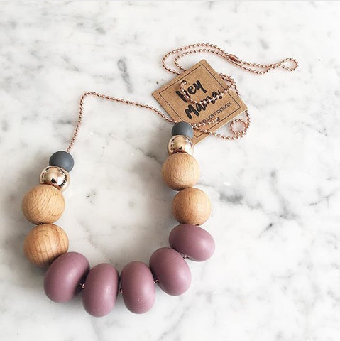 Silicone Necklace - Colette Charcoal Wine