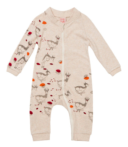 Deer Print Zippy Babygro