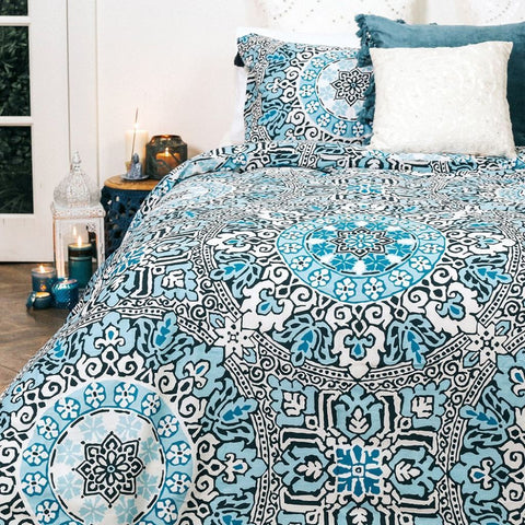 Inde - Sky Blue Quilt Cover Set