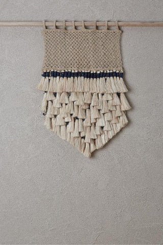 Wall Hanging - Natural Jute Tassels with Indigo