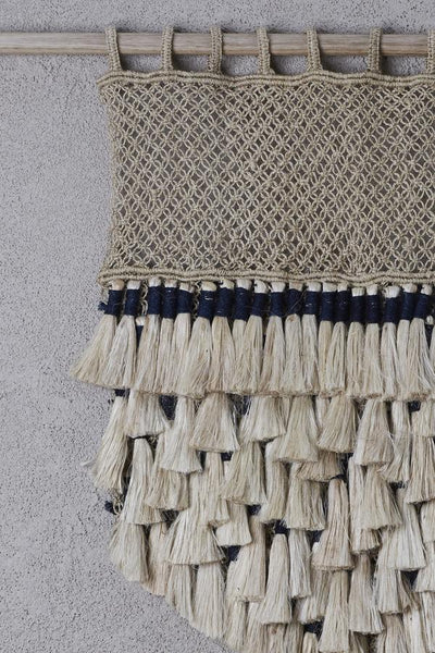 Natural Jute Tassels with Indigo Wall Hanging