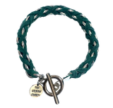 Turquoise Suede Woven Cable Chain Toggle Bracelet