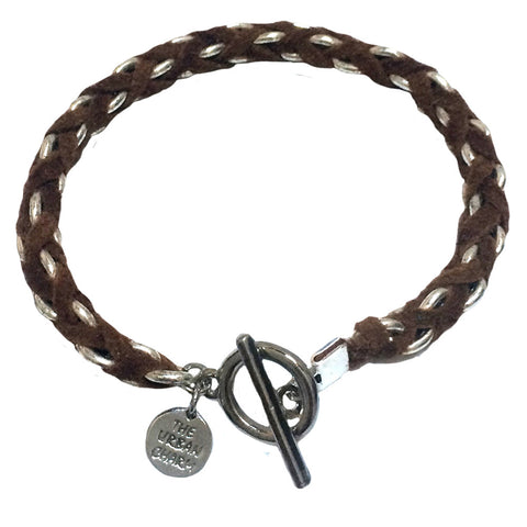 Camel Suede Woven Cable Chain Toggle Bracelet