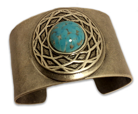 Silver and Turquoise Celtic Cuff Bracelet