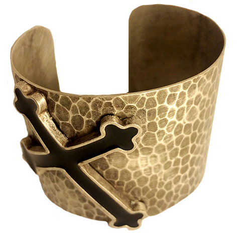 Silver Color Fill Cross Hammered Cuff