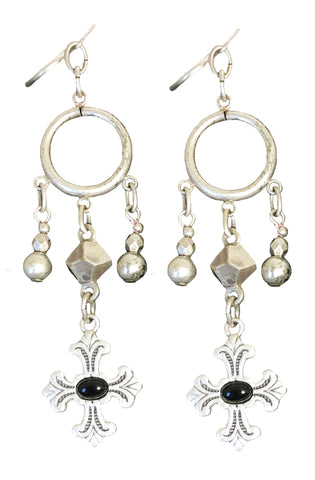 Silver and Black Cross Dangle Earrings