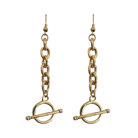 Gold Chain Toggle Earrings