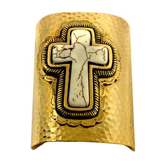 Gold and Ivory Cross Textured Metal Cuff Bracelet