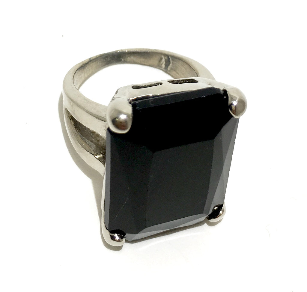 Sterling Silver Jet Black Swarovski Ring