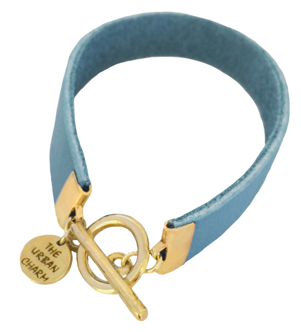 Baby Blue Leather Color Band Bracelet by The Urban Charm