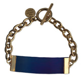 Blue Leather and Chain ID Toggle Bracelet