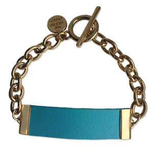 Baby Blue Leather and Chain ID Toggle Bracelet